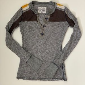 Free People Gray/Yellow/Brown Thermal